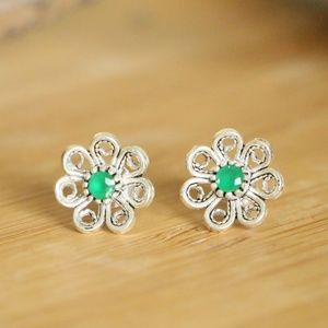 Sterling Silver Floral Green jade stone earrings